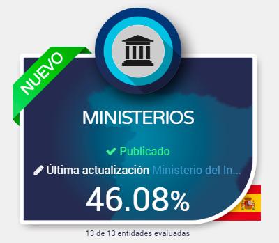 Los Ministerios en España no superan el 50%,  en sus niveles de transparencia pública al ciudadano,  según la evaluación Dyntra