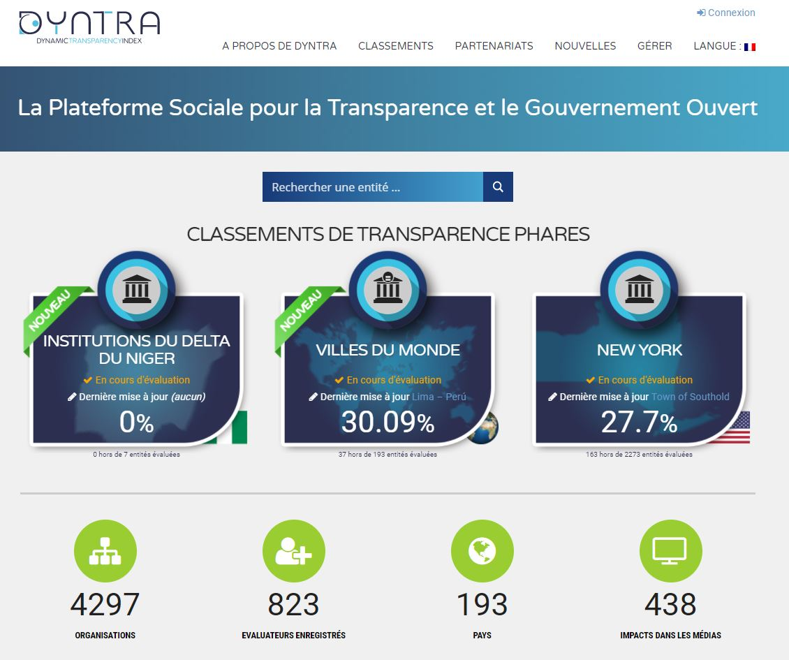 Dyntra launches its Social Hub of Transparency and Open Government in French